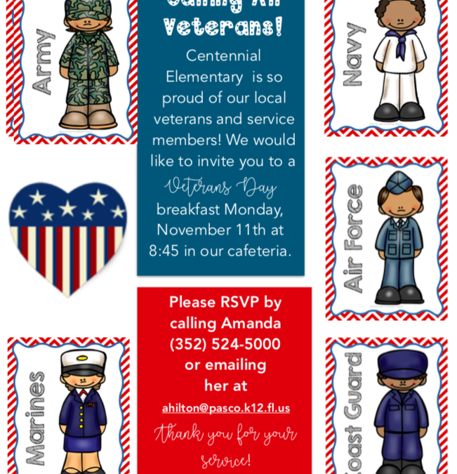 Veterans Day Breakfast – November 11th, 2019