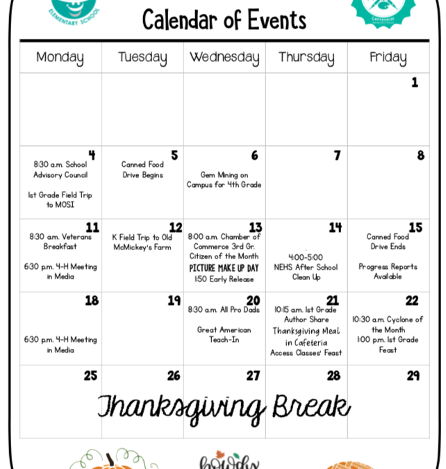 November Calendar of Events