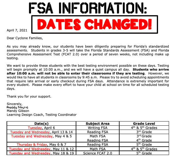 UPDATED FSA Information